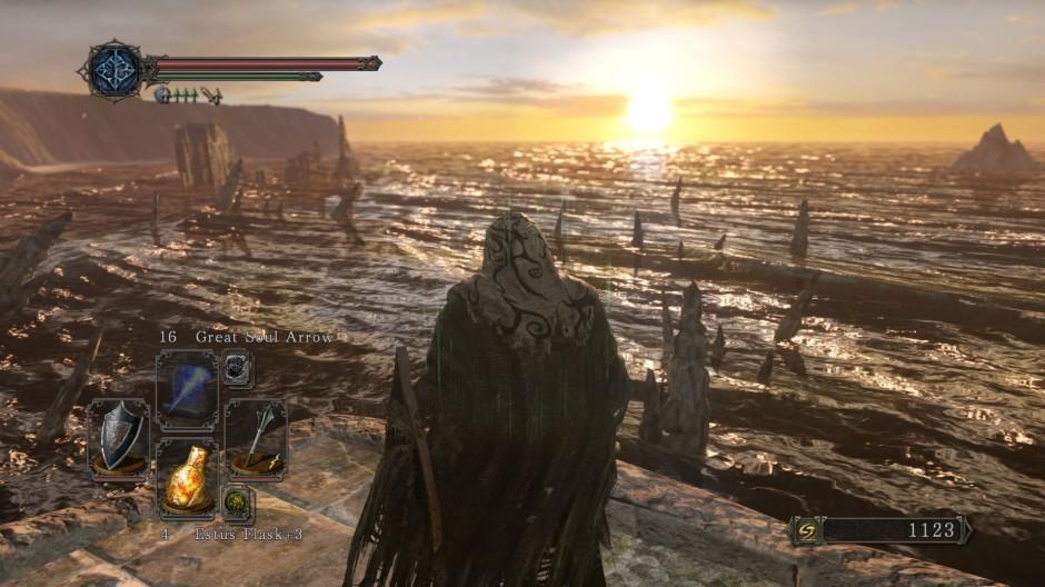 Der Ausblick in Majula, dem sichersten Gebiet des Spiels