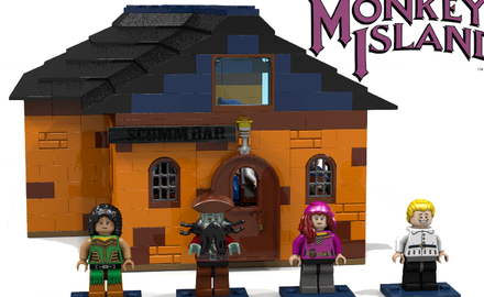 Monkey Island: Die Hauptfiguren Carla, LeChuck, Elaine und Guybrush als LEGO