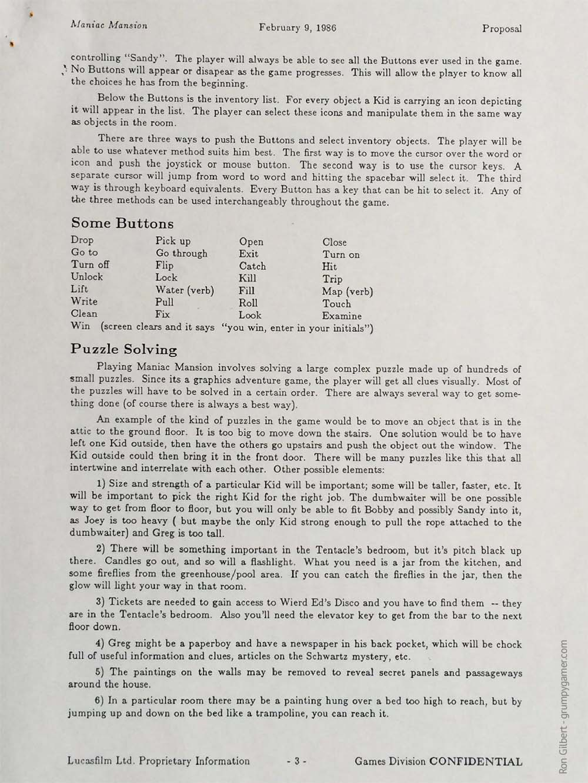 Manic Mansion, Design Document