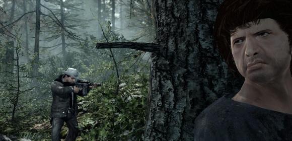 Ein übellauniger Rambo lauert hinterm Baum.